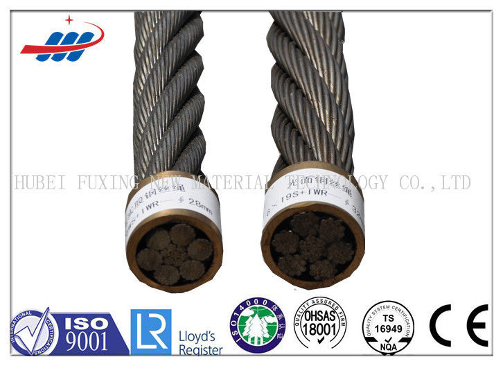 6-48mm Ungalvanized Steel Wire Rope For Lifting Hoisting Drawing , 6x26SW+IWRC